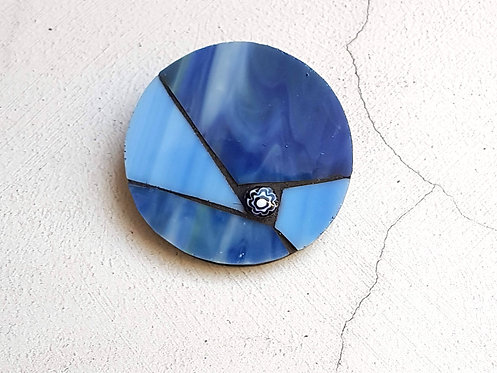 Two Blues Mosaic Brooch
