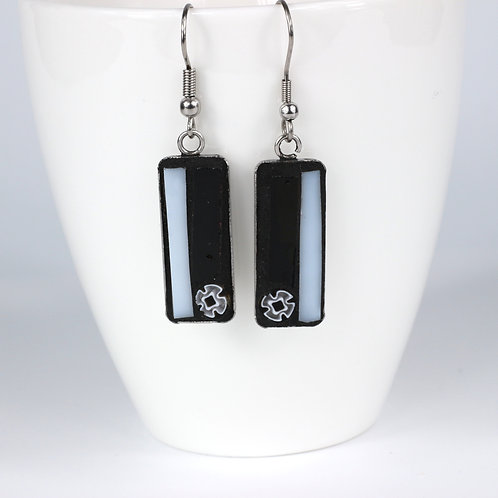 Black and White Mosaic Earrings