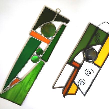 Two green suncatchers