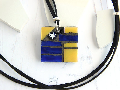 Blue and Yellow Mosaic Pendant