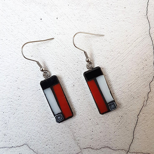 Red and Black Mosaic Earrings