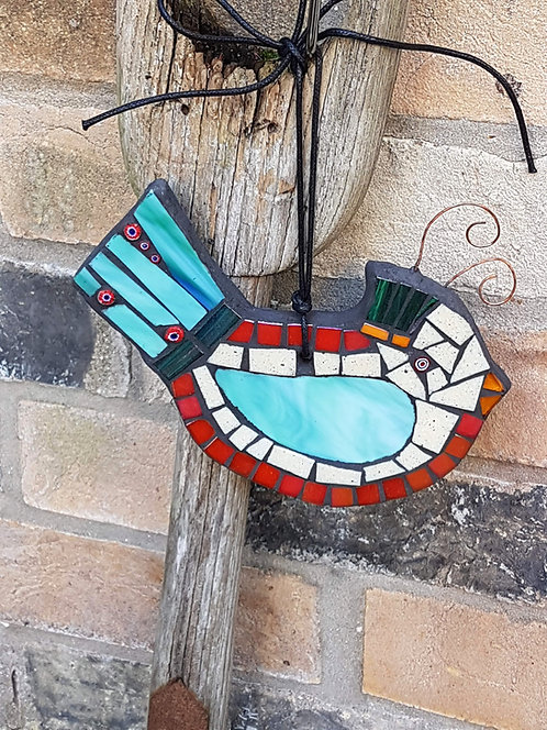 Turquoise and Red Mosaic Bird
