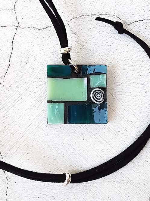 Shades of Teal Geometric Mosaic Pendant