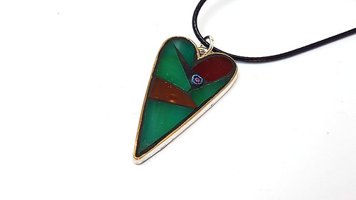 Green and Burgandy Heart Pendant