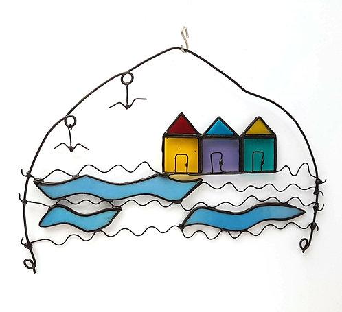 Beach Huts Wire Art