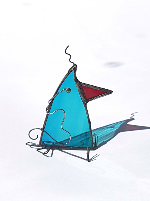 Teal Blue Stained Glass Bird