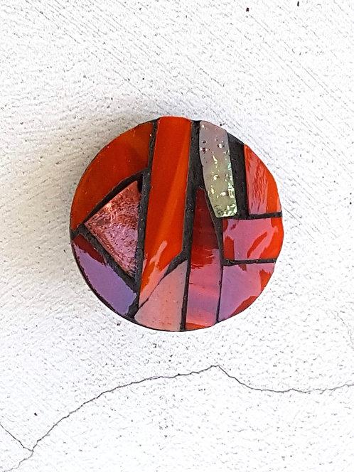 Round Orange Mosaic Brooch