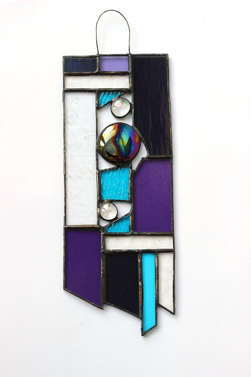 Purple and Teal Stained Glass Suncatcher