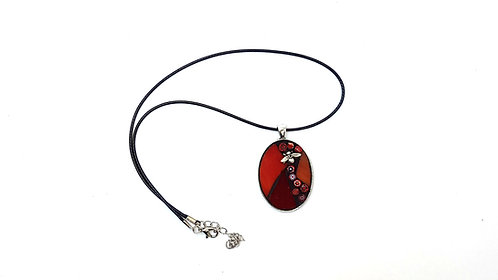 Red Oval Mosaic Pendant