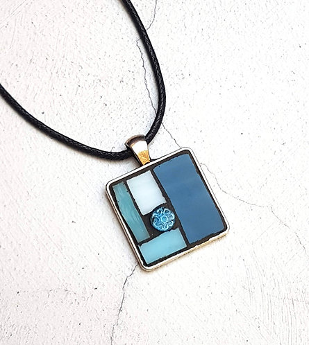 Shades of Blue Mosaic Pendant