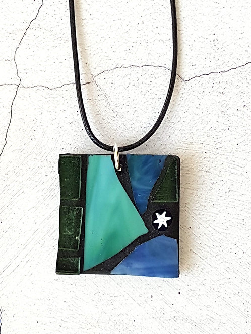 Teal and Blue Mosaic Pendant