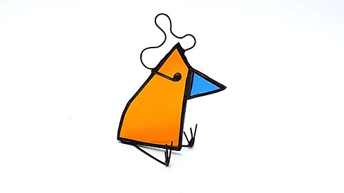 Orange Stained Glass Bird