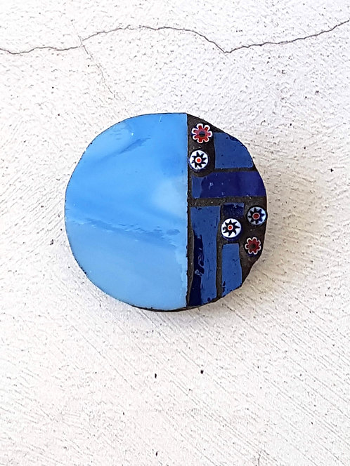 Round Blue Mosaic Brooch