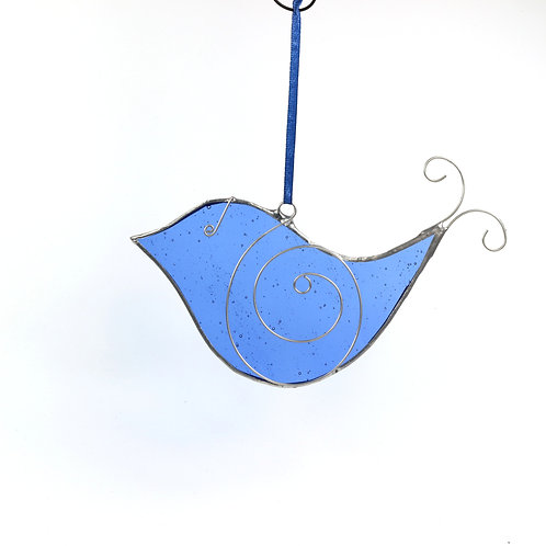 Bubbly Blue Stained Glass Bird
