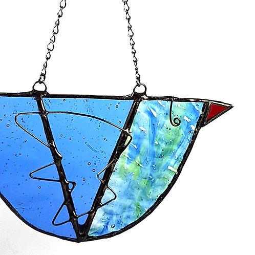 Shades of Blue Hanging Glass Bird