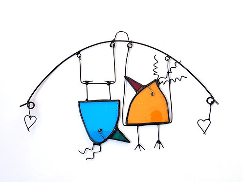 Teal and Orange Birds on a Swing