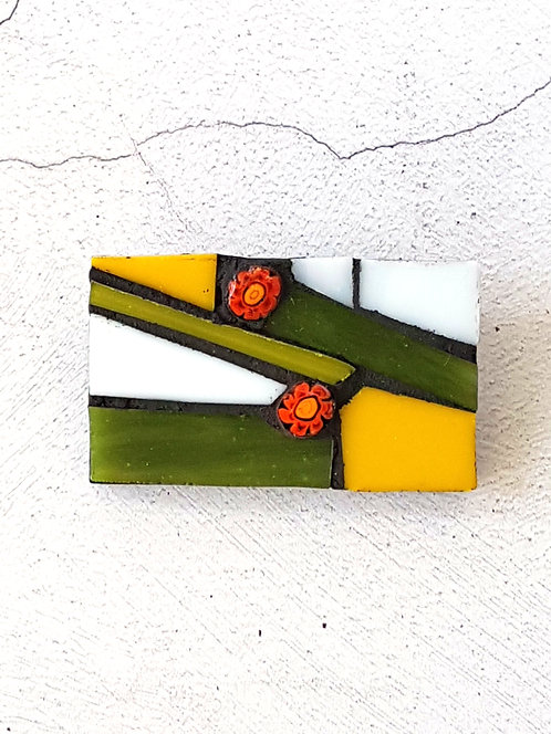 Green and Yellow Glass Mosaic Brooch