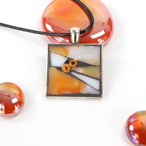Orange and White Mosaic Pendant