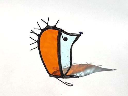 Orange and Teal Glass Hedgehog