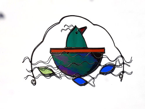 Teal Bird in a Boat
