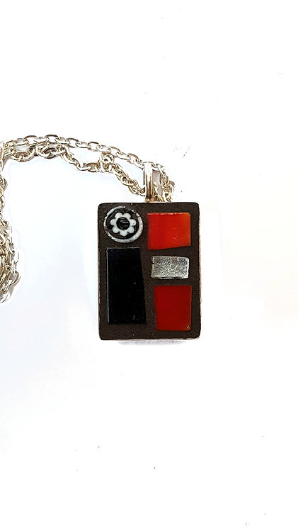 Red and Black Rectangle Mosaic Pendant