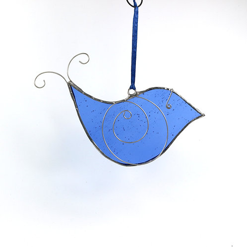 Blue Stained Glass Bird Right Facing