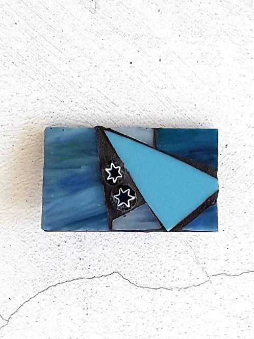 Blue Glass Mosaic Brooch