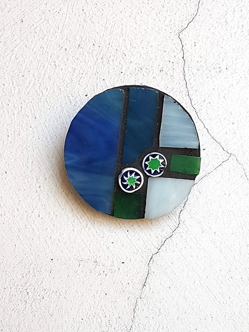 Blue and Green Mosaic Brooch