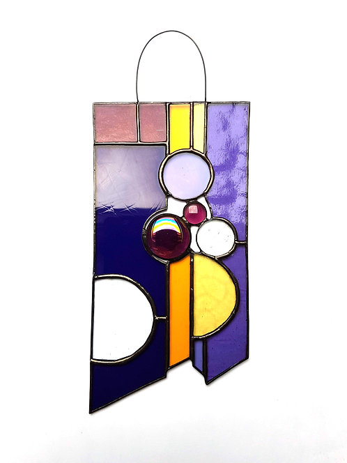 Purples and Circles Stained Glass Suncatcher