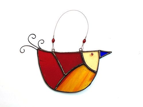 Red and Orange Stained Glass U-bird