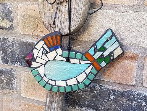 Turquoise and Orange Mosaic Bird