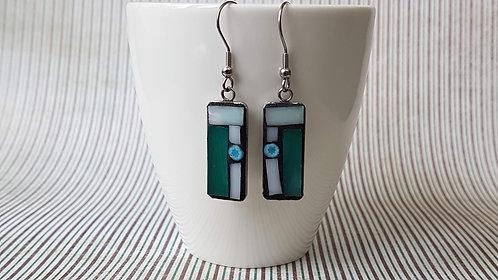Green and White Mosaic Earrings