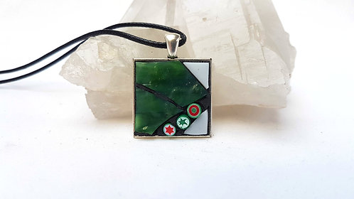 Green and White Mosaic Pendant