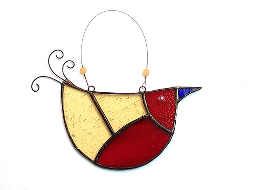 Red and Yellow Stained Glass U-bird
