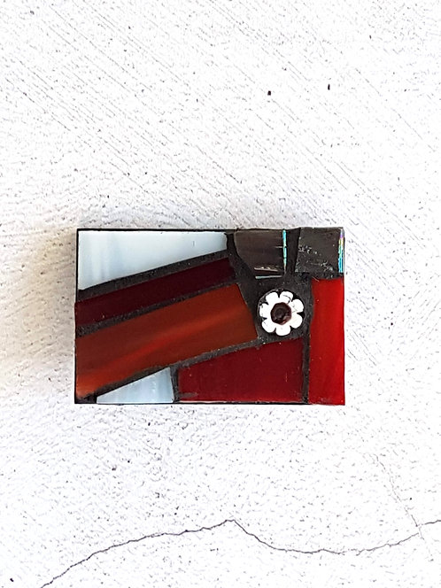Red and White Mosaic Brooch