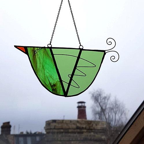 Green Hanging Glass Bird
