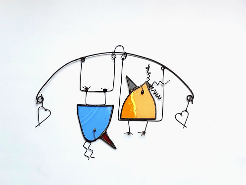 Pale Blue and Orange Birds on a Swing