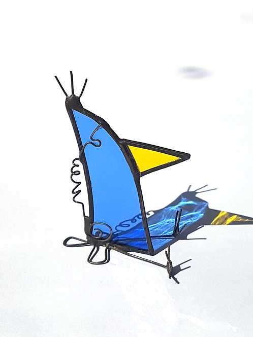 Yellow Nosed Stained Glass Bird