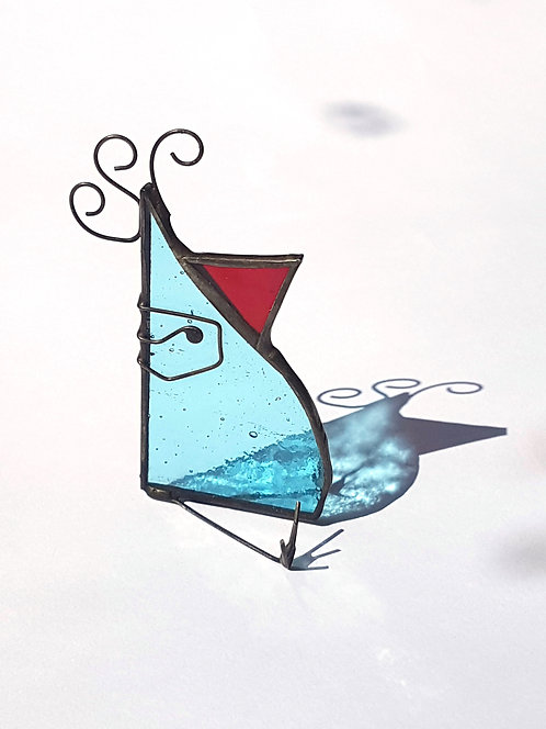 Pale Teal Stained Glass Bird