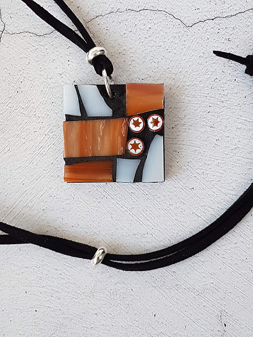 Streaky Rust and White Mosaic Pendant