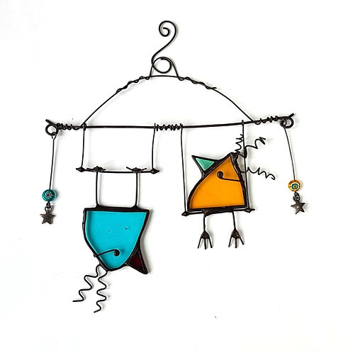 Turquoise and Orange Mini Birds on a Swing