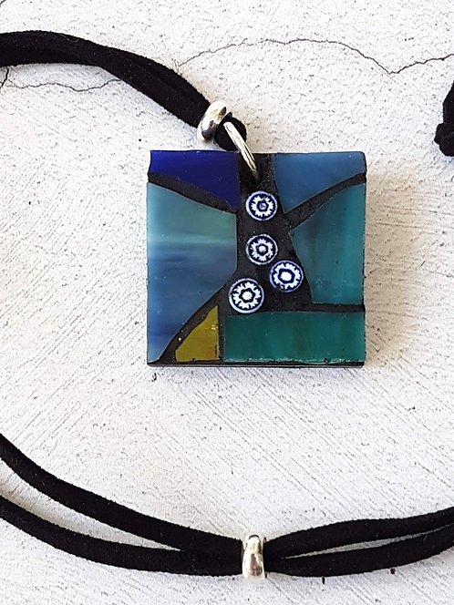 Streaky Bluey Green Square Mosaic Pendant