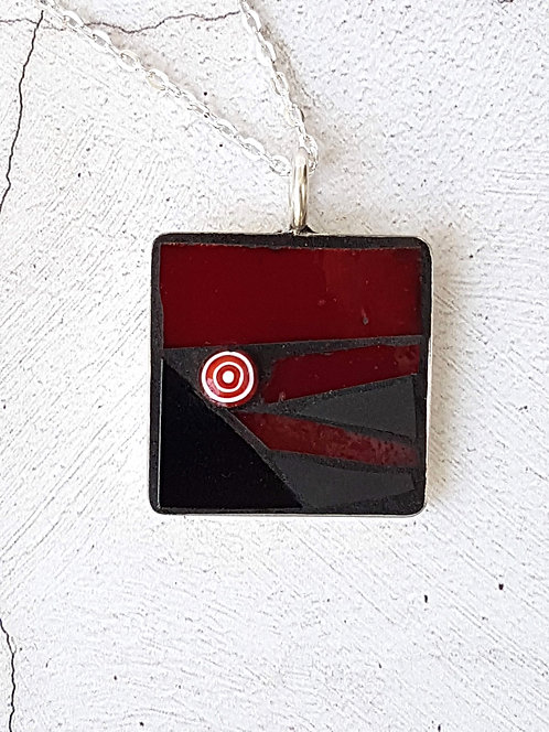 Red Rectangle Mosaic Pendant