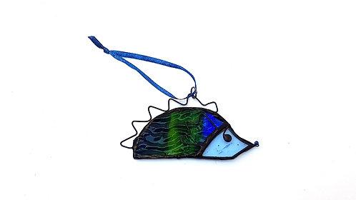 Blue Green Hedgehog Ornament