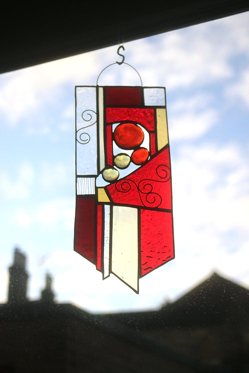Red and Yellow Stained Glass Suncatcher