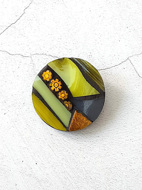 Round Yellow and Grey Brooch