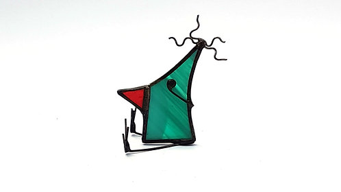 Streaky Green Stained Glass Bird