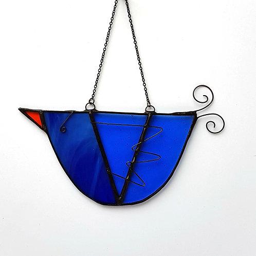 Blue Hanging Glass Bird