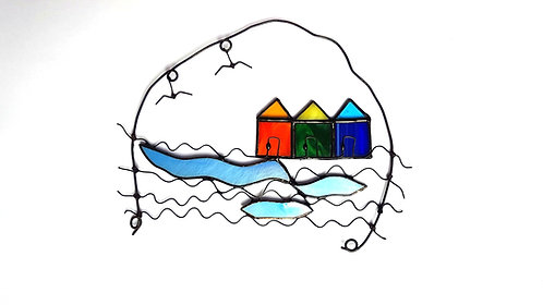 Wire Beach Huts Wall Hanging