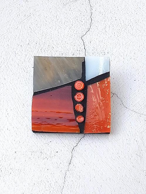 Orange Mosaic Brooch